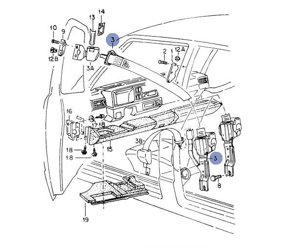 Volkswagen Parts Usa: PAS 2-PUNKTOWY LEWY USA VW GOLF II JETTA MK2 4D Volkswagen